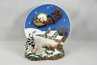 Santa Reindeer Flying Sleigh 3D Collector Plate A Christmas Remembered Holiday