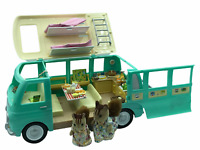 Calico Critters Sylvanian Families Camper Van Mint Green WITH PANCAKES EGGS