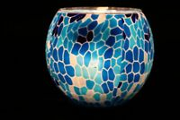 Dancing Blue Water Candle Holder Handmade