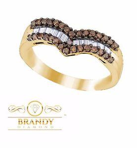 Brandy Diamond® Chocolate Brown 18k Yellow Gold Silver Chevron Design Band Ring