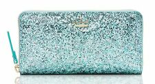 Kate Spade PWRU4540 Glitter Bug LACEY Zip Wallet BABY BLUE Metallic Light NWT