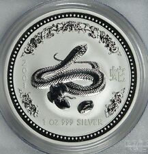 RARE ! ~ 2001 ~1~OZ PURE .999 SILVER ~ YEAR of the SNAKE ~ PCGS ~MS~69 ~ $108.88