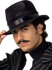 Gangster Maul Hat Black Fedora Mafia Adults 20s Fancy Dress New