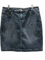 Style & Co Womens Denim Pencil Skirt Blue Dark Mini Stretch Slit Back Casual 12