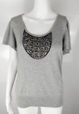 Betty Jackson Black Size 14 Grey Metal Embellished Beads Studded Blouse Shirt