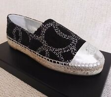 CHANEL ESPADRILLES 36 5 BLACK METALLIC TWEED 16S WOMAN FLATS SHOES SPRING CC