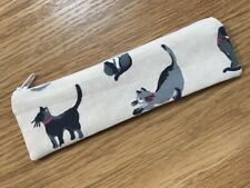 HANDMADE SKINNY PENCIL CASE (20x5cm) - CATH KIDSTON SMALL PAINTED CATS FABRIC