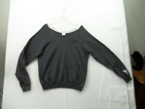 Victoria Secret PINK S/P Loose Black Pullover Sweatshirt Rough cut neck Ex Cond!