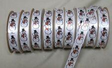 "10 Rolls CHRISTMAS HOLIDAY SNOWMAN SINGLE FACE SATIN RIBBON  5/8"" W  9 ft P/R"