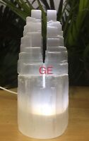 """6"""" Selenite Tower USB Cord Clear LED Bulb Selenite Lamp Two Point Tower Crystal."""