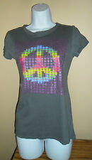 Women's Gray/Multi-colored Peace Sign Hippie Top Tee-Shirt 100% Cotton S/M