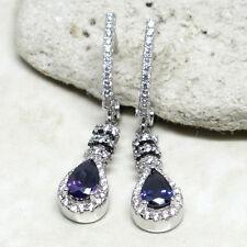 Sterling Silver Latch Back Earrings Unique Pear Cut Amethyst Purple 925