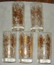 5 VINTAGE FRANK MAIETTA ATOMIC ERA GLASS TUMBLERS, FLOWERS & BEES