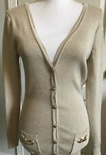 Womens WHITE HOUSE BLACK MARKET Cardigan SWEATER Size M GOLD Snap Long Sleeve