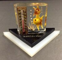 Vintage Lucite Paperweight Desk Decor Marineland Fish Sea Life Thermometer
