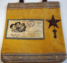Recycled Canvas Tote Reclaimed Bag Leather Handles Star and Skeleton Key Aviator
