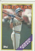 FREE SHIPPING-MINT-1988 Topps #88 Earnie Riles BREWERS PLUS BONUS CARDS