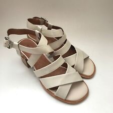 15c4ae21a8fc JEFFREY CAMPBELL Womens Sharla Slingback Leather White Sandal Strappy Size  9.5