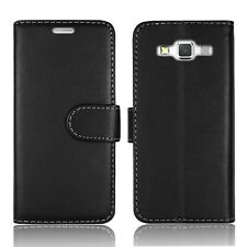 Flip Wallet Leather Case Cover for Samsung Galaxy Phone Screen Protector Plain Black A3 A300f