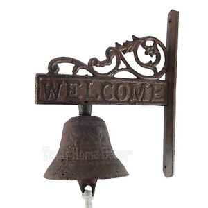 """Vines """"Welcome"""" Dinner Bell Cast Iron Wall Mounted Rustic Brown Antique Style"""