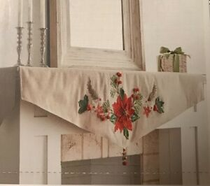 Pier 1 Imports Embroidered Appliqué Poinsettia Mantel Scarf With Beaded Tassel