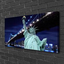 Leinwand-Bilder 100x50 Wandbild Canvas Kunstdruck Brücke Freiheitsstatue Skyline
