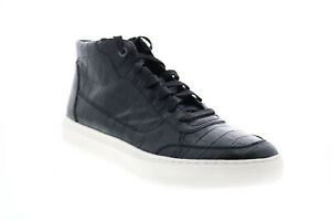 Geox U Deiven D Mens Black Leather Lace Up Euro Sneakers Shoes