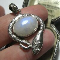 SOLID SILVER VINTAGE STYLE REAL RAINBOW MOONSTONE SNAKE SERPENT NECKLACE PENDANT