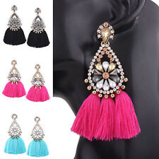 Fashion Boho Lady Drop Vintage Tassel Stud Ear Dangle Rhinestone Crystal