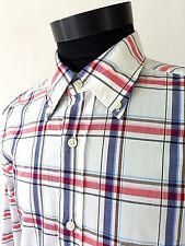 Massimo Dutti Mens Shirt Red Blue Plaid Casual Size M Cotton Oxford Collar