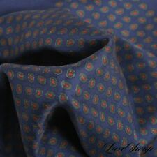 Polo Ralph Lauren Made Italy 100% Silk Navy Muted Paisley Layout Pocket Square