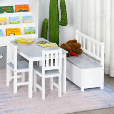Qaba 4-Piece Set Kids Wood Table Chair Bench w/ Storage Function for 3 Years+