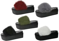 Womens Slip On Wedge Fur Slider Flip Flop Platform Mules Rubber Slippers Sandals