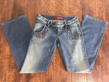 GUESS JEANS Women's 26 30x33 Floral Boot Cut Light Wash Embroidered Blue Denim