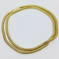 "Vintage Gold Snake Chain Necklace 24"" Costume Jewelry Made Hong Kong"