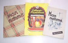 3 alte Kochhefte Rezepte um 1950 Man nehme ... & Gelapekt Rezeptbuch !
