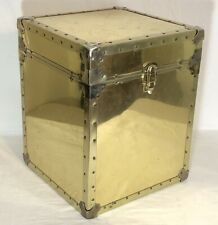 """Mid Century Hobnail Brass Clad 20"""" Hollywood Regency Storage Trunk Chest Table"""