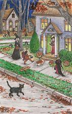 4x6 PRINT OF PAINTING RYTA HALLOWEEN VINTAGE STYLE BLACK CAT CORGI FOLK WITCH