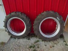 "Allis Chalmers B C tractor 11.2 x 24"" 98% tread frestone tire tires & rims rim"