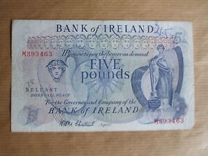 BANK  OF  IRELAND £5  NOTE, 1968.