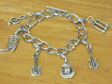 Cowgirl/Western/Country Music Fan Silver-Tone Charm Bracelet Hat/Guitar/Boot