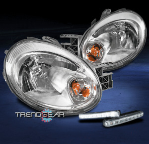 FOR 2003-2005 DODGE NEON REPLACEMENT CHROME HEADLIGHTS HEADLAMP W/LED DRL SIGNAL