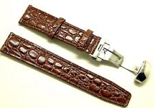 20mm Brown Thin Crocodile Grain Leather Watch Strap W/ Stainless Deployant Clasp