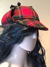 Vintage Scottish Lochcarron Hunter's Wool Red Plaid Hat Ear Flaps Scotland M