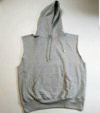 Champion MENS 100% AUTHENTIC SIZE LARGE LOGO SLEEVELESS HOODIE GRAY NEW