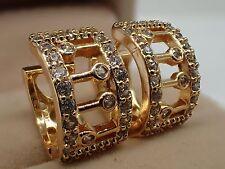 Ladies 14ct 9ct Yellow Gold GF Lab diamond Classic Hoop Huggies Earrings wedding