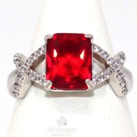 Luxury 5 Ct Red Ruby Moissanite Halo Ring Women Jewelry White Gold Plated