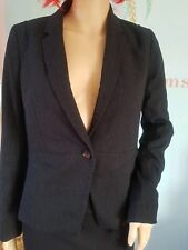 Ladies Womens Next Petite Blazer Jacket Coat Pin Stripe Black Size 10