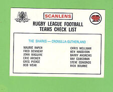 1975 RUGBY LEAGUE CHECKLIST CARD - CRONULLA SUTHERLAND SHARKS, UNCHECKED