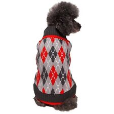 "Blueberry Pet Chic Argyle All Over Dog Sweater Coat 20"" Charcoal & Scarlet Red"